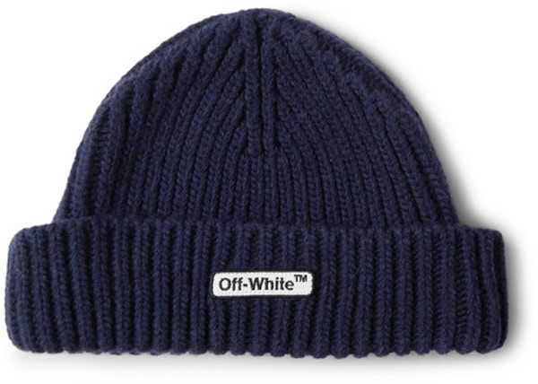 52a691f6d OFF-WHITE Logo Appliqued Ribbed Beanie Navy
