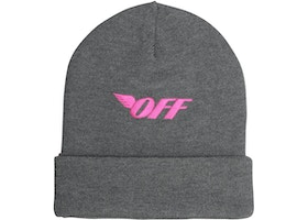 30ef0df94 OFF-WHITE Logo Embroidered Beanie Medium Grey/Fuchsia