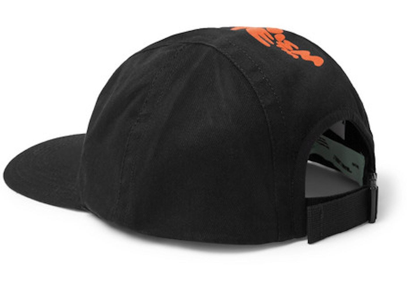 521cbc10 OFF-WHITE Logo Print Baseball Hat Black/Orange - SS19