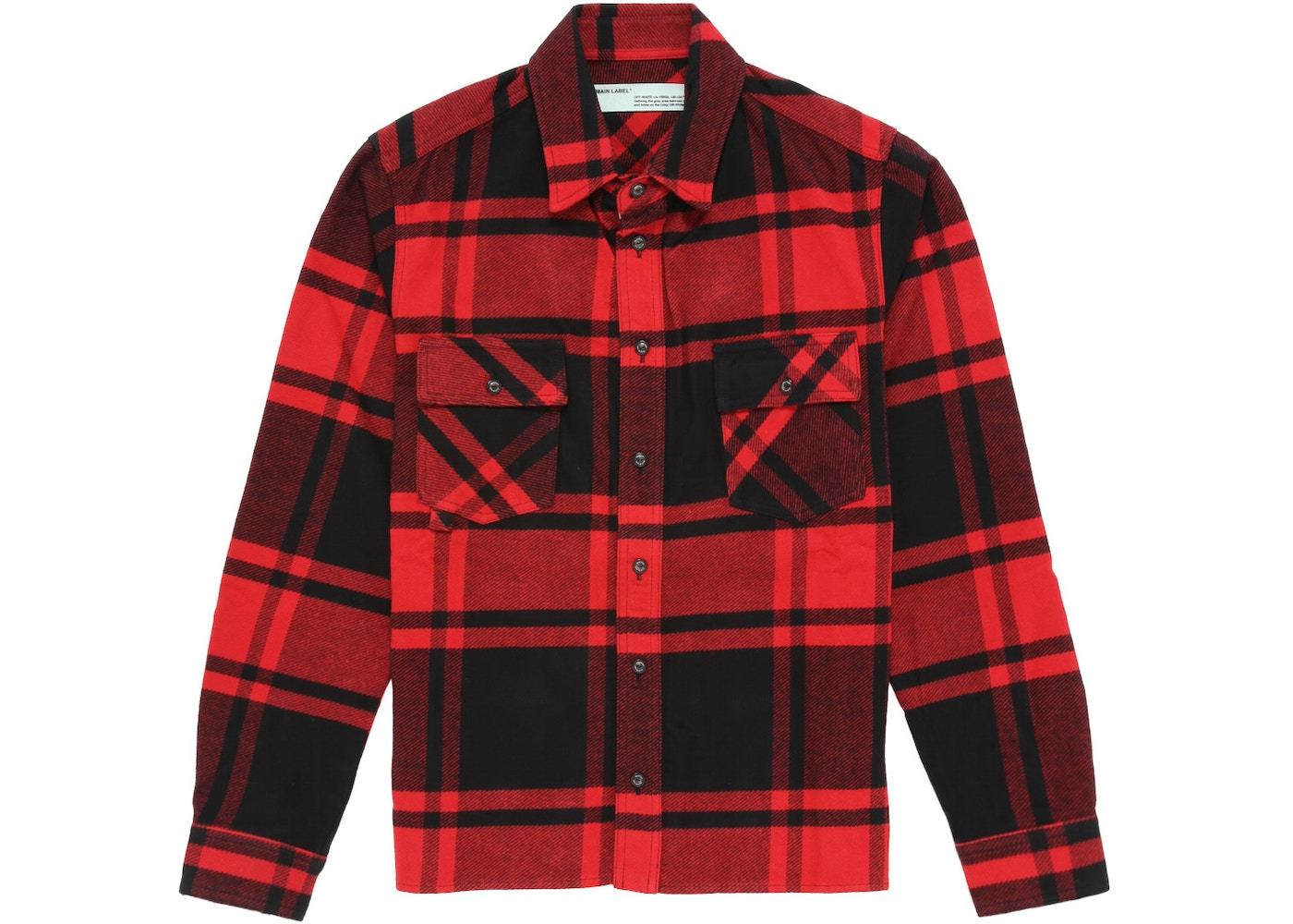 0ef48f13 OFF-WHITE Logo Print Checkered Flannel Overshirt Red/Black - SS19