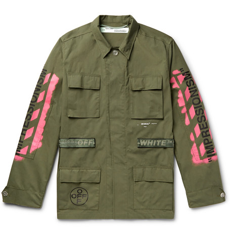 OFF WHITE Logo Print Military Field Jacket Green