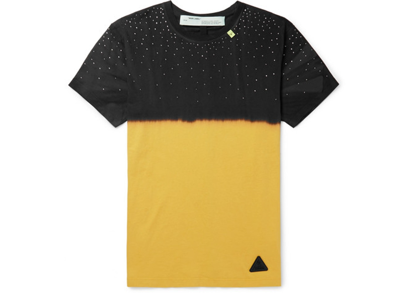 ec6a4756 OFF-WHITE Slim Fit Embellished Tie Dyed T-Shirt Black/Yellow - SS19