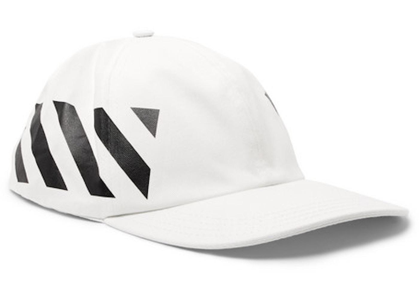 53c842aef OFF-WHITE Striped Diag Baseball Hat White/Black