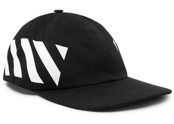 6b3716ef OFF-WHITE Striped Diag Canvas Hat Black/White