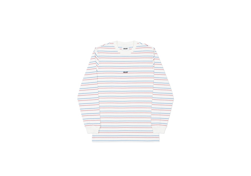 Palace Basically A Stripe Longsleeve White/Blue/Red by Stock X