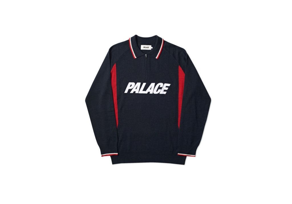 Palace Polo Zip Knit Navy by Stock X