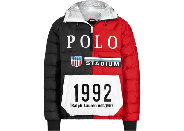 f7439f1b5e3b1 Polo Ralph Lauren Winter Stadium Down Popover Jacket Injection Red Polo  Black