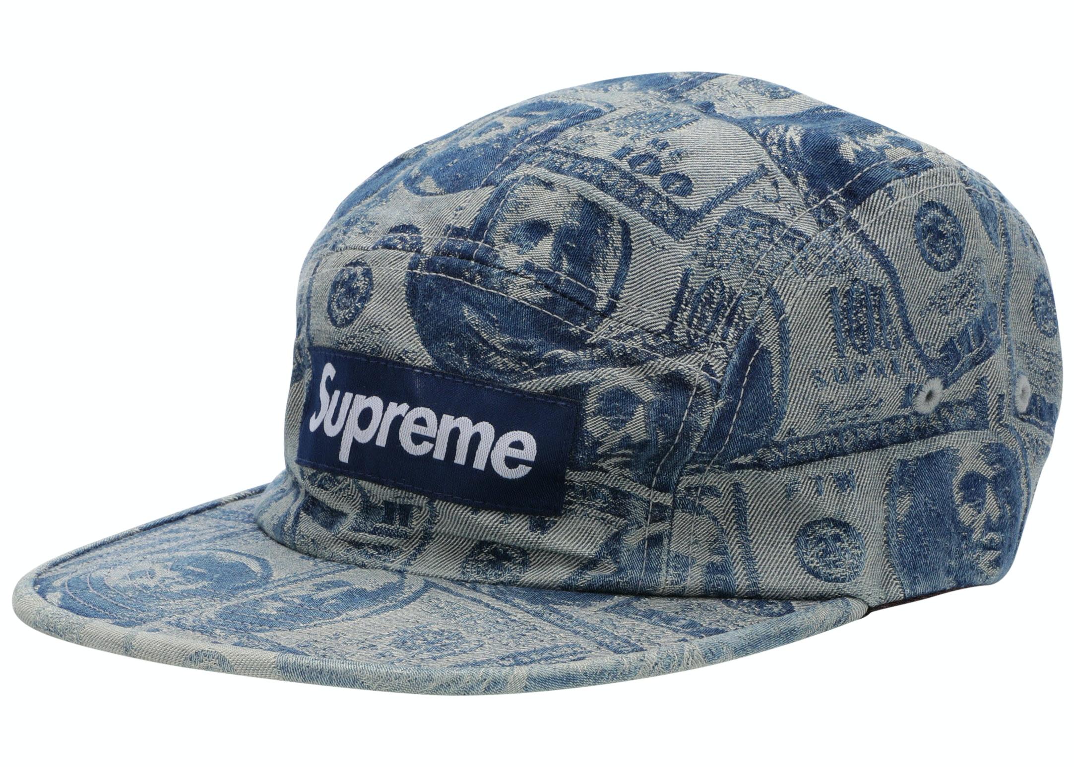 Supreme 100 Dollar Bill Camp Cap Blue
