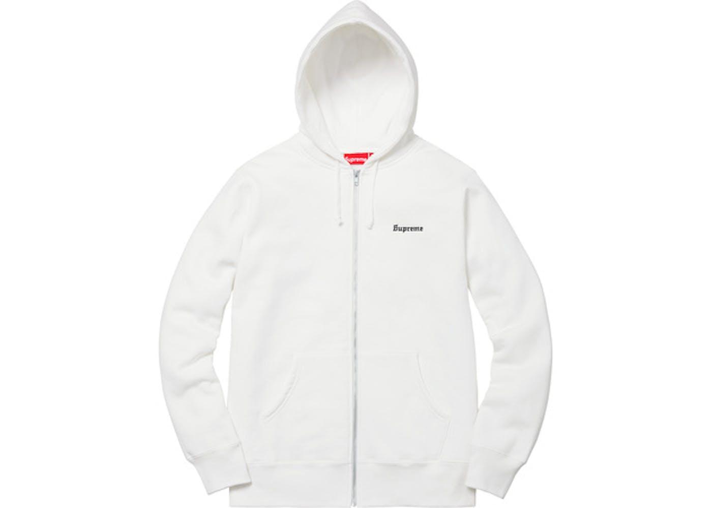 666 Zip Up Hooded Sweatshirt White