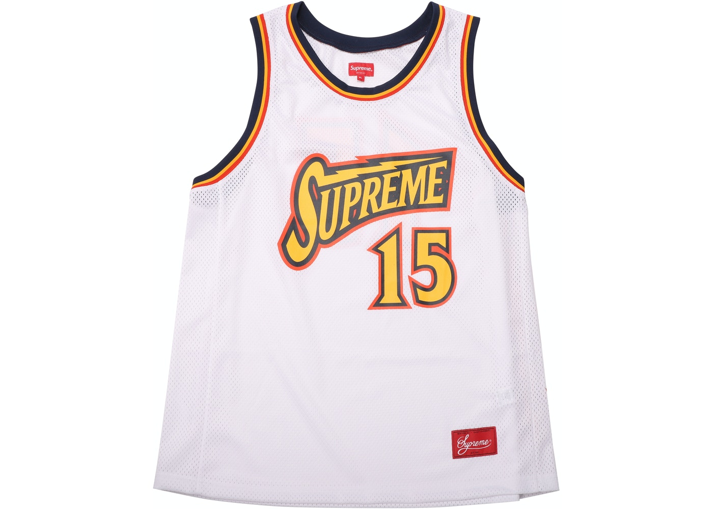 the best attitude 3d668 82769 Supreme Bolt Basketball Jersey White