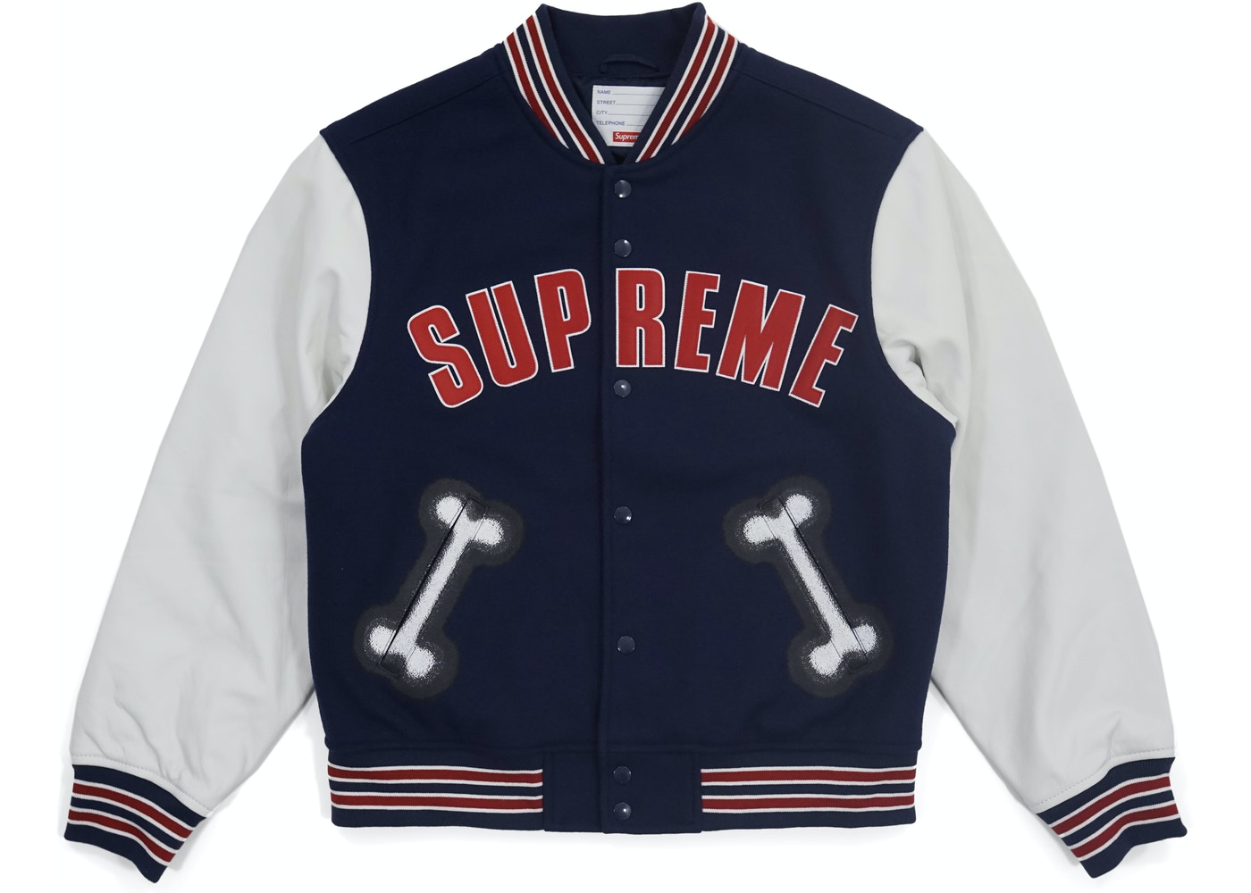 Supreme Bone Varsity Jacket Navy