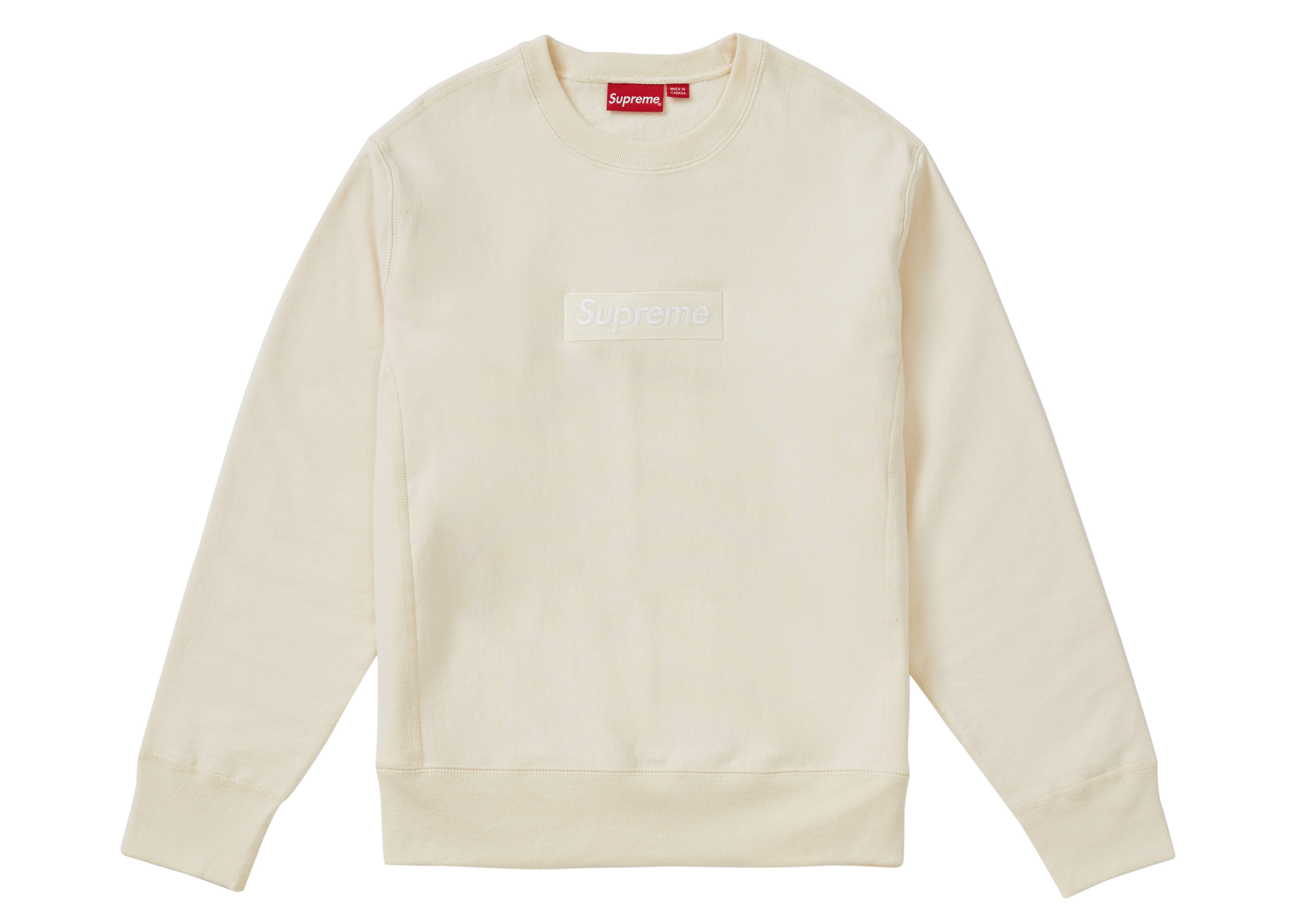 Supreme Box Logo Crewneck (FW18) Natural