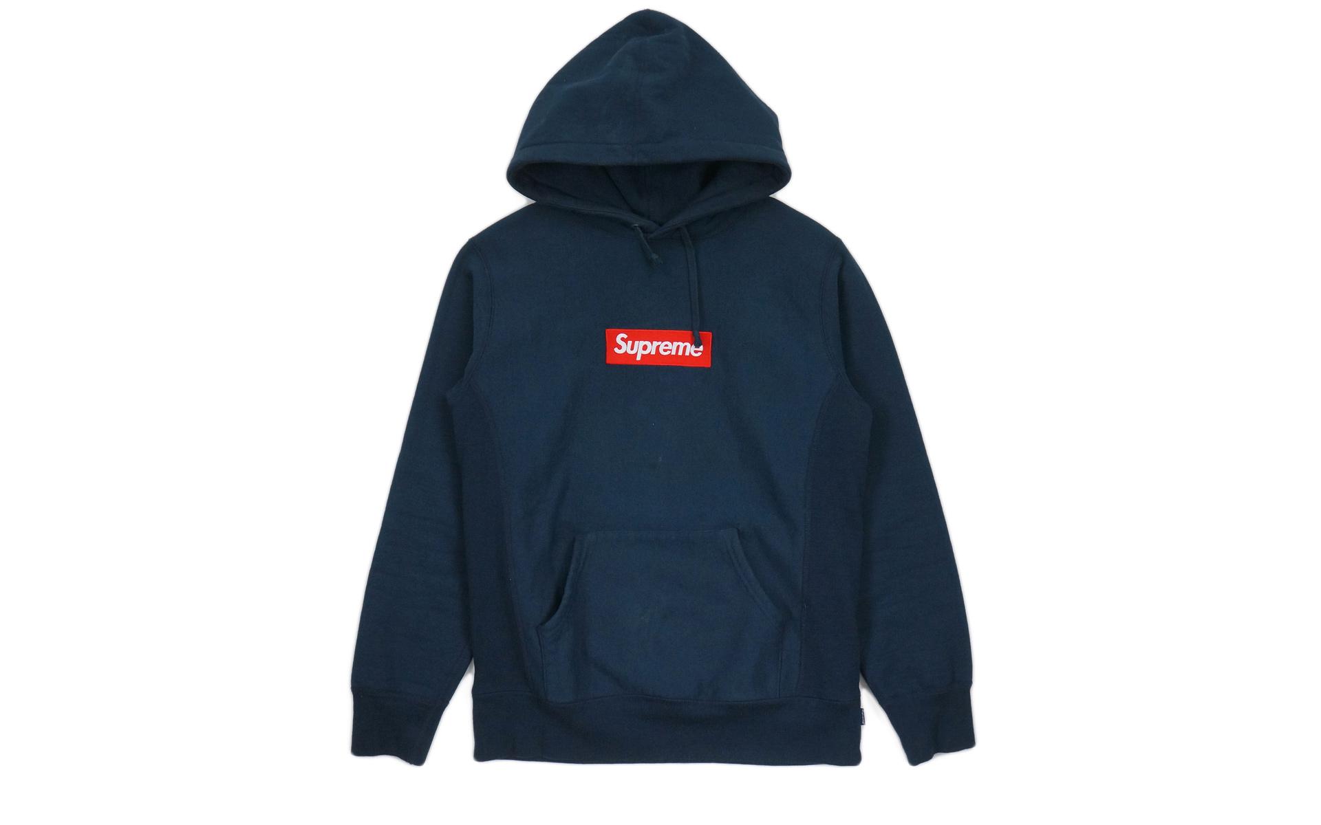 Supreme Box Logo Hooded Sweatshirt Navy