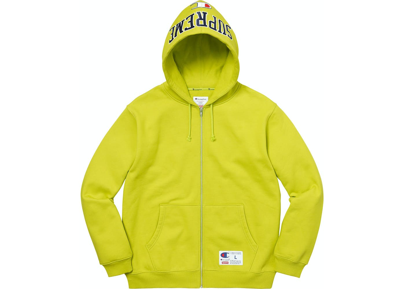 5f9856f4aaa HypeAnalyzer · Supreme Champion Arc Logo Zip Up Sweat Bright Green