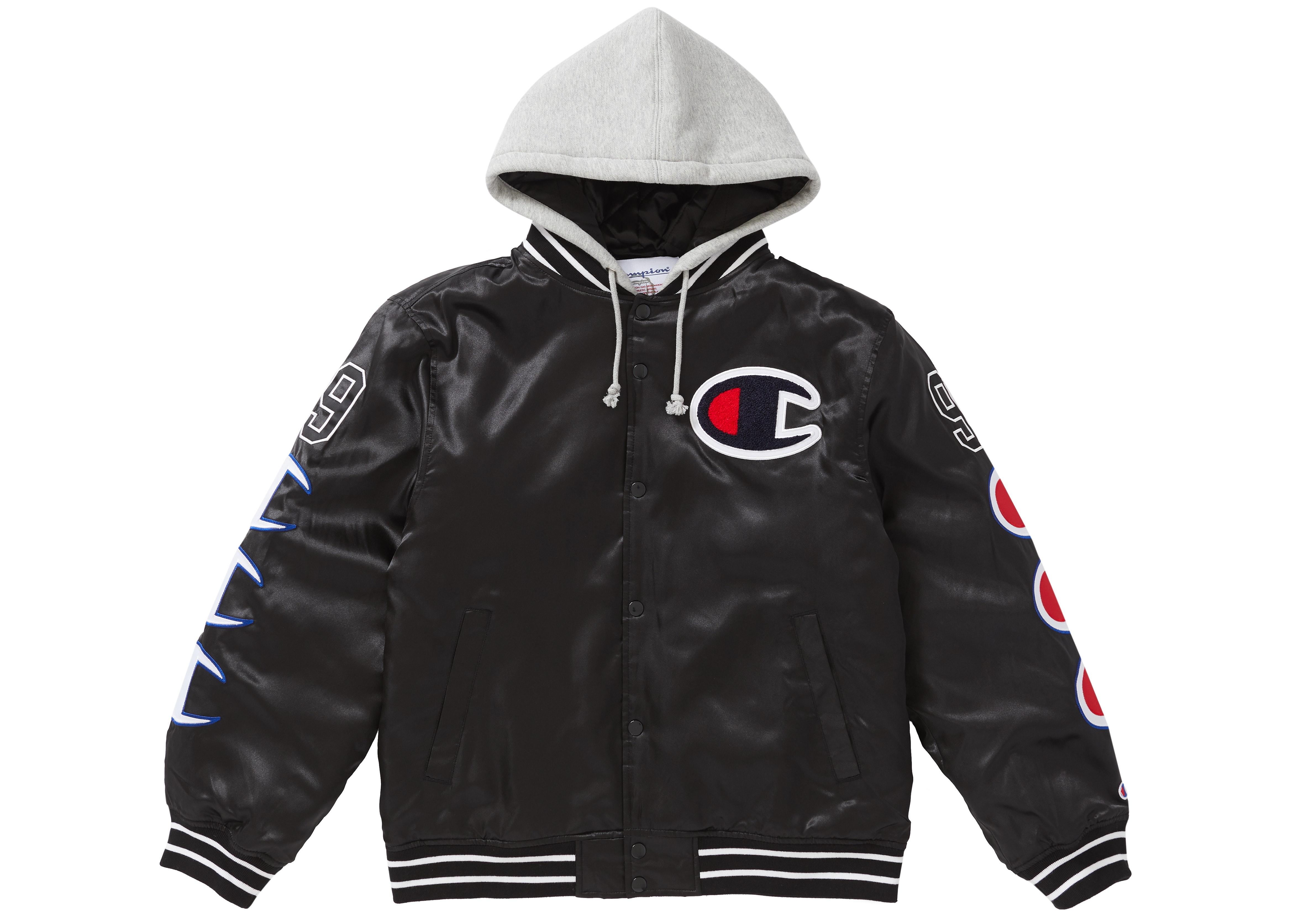 Supreme Champion Hooded Satin Varsity Jacket Black