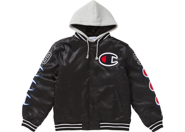 Supreme Champion Hooded Satin Varsity Jacket Black b8d655cba