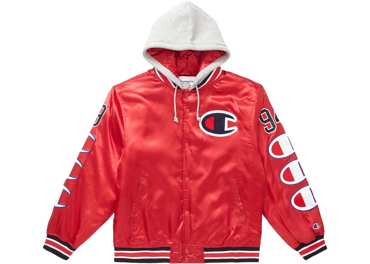 helt elegant väldigt billigt Förenta staterna Supreme Champion Hooded Satin Varsity Jacket Red - FW18