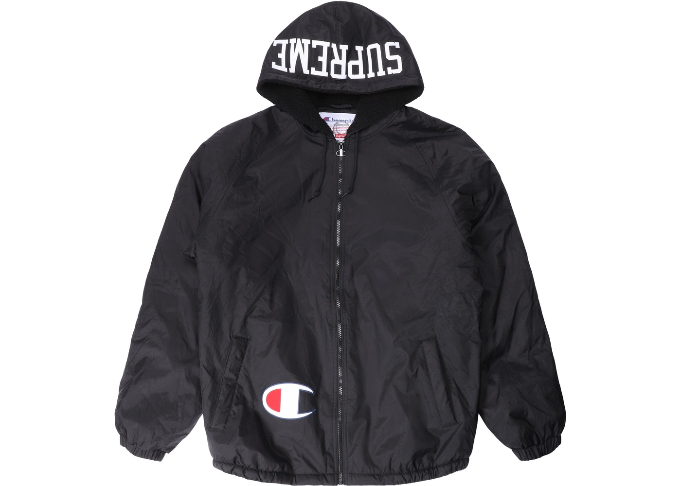 Hooded Champion Sherpa Jacket Lined Navy Supreme cL3Aq4R5j