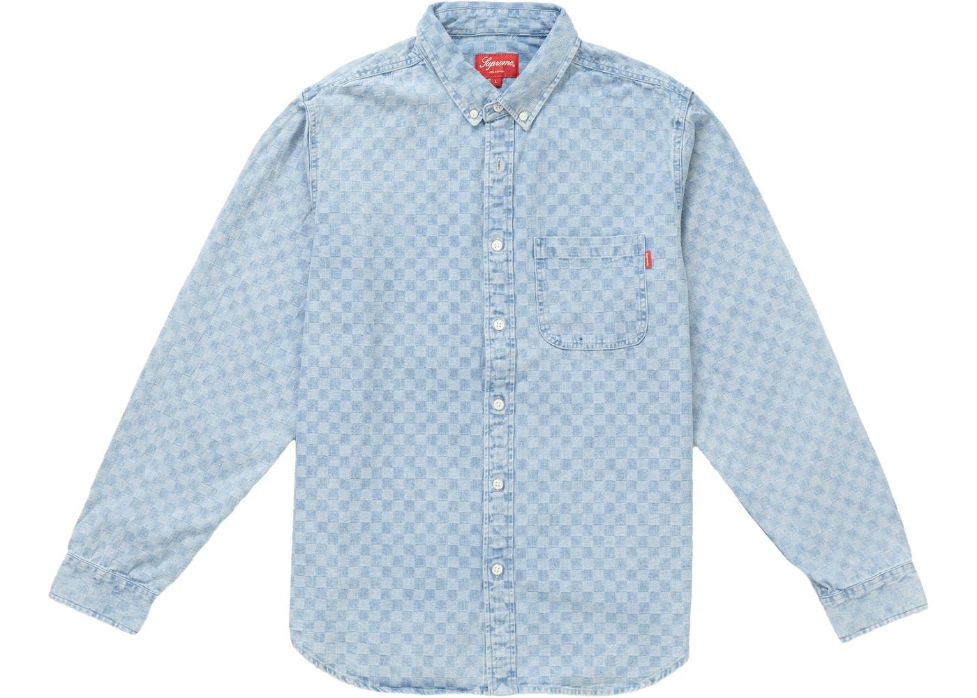 1c6e7a5f6222 Supreme Checkered Denim Shirt Blue - FW18