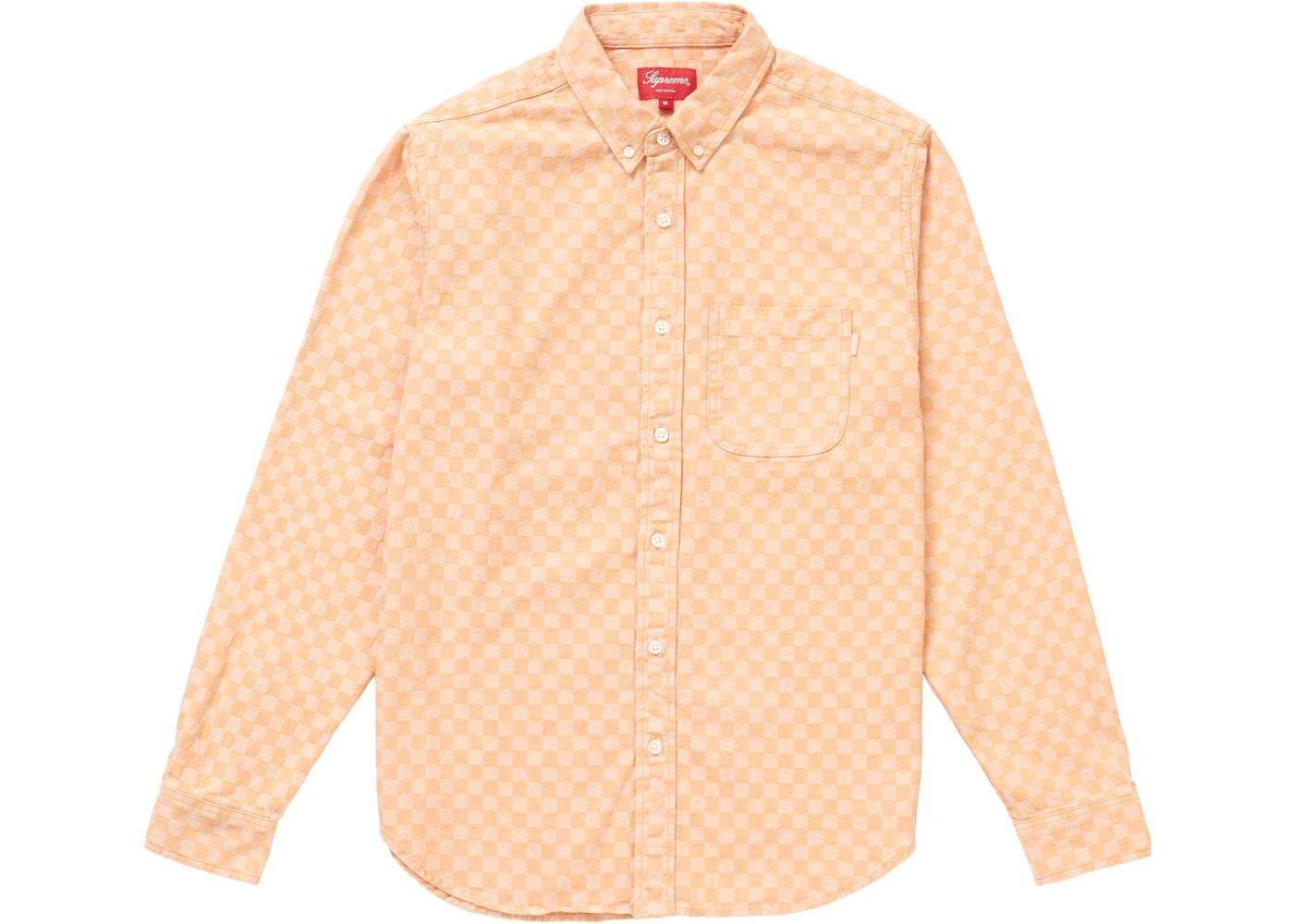 1b9dda094e9e Supreme Checkered Denim Shirt Peach - FW18