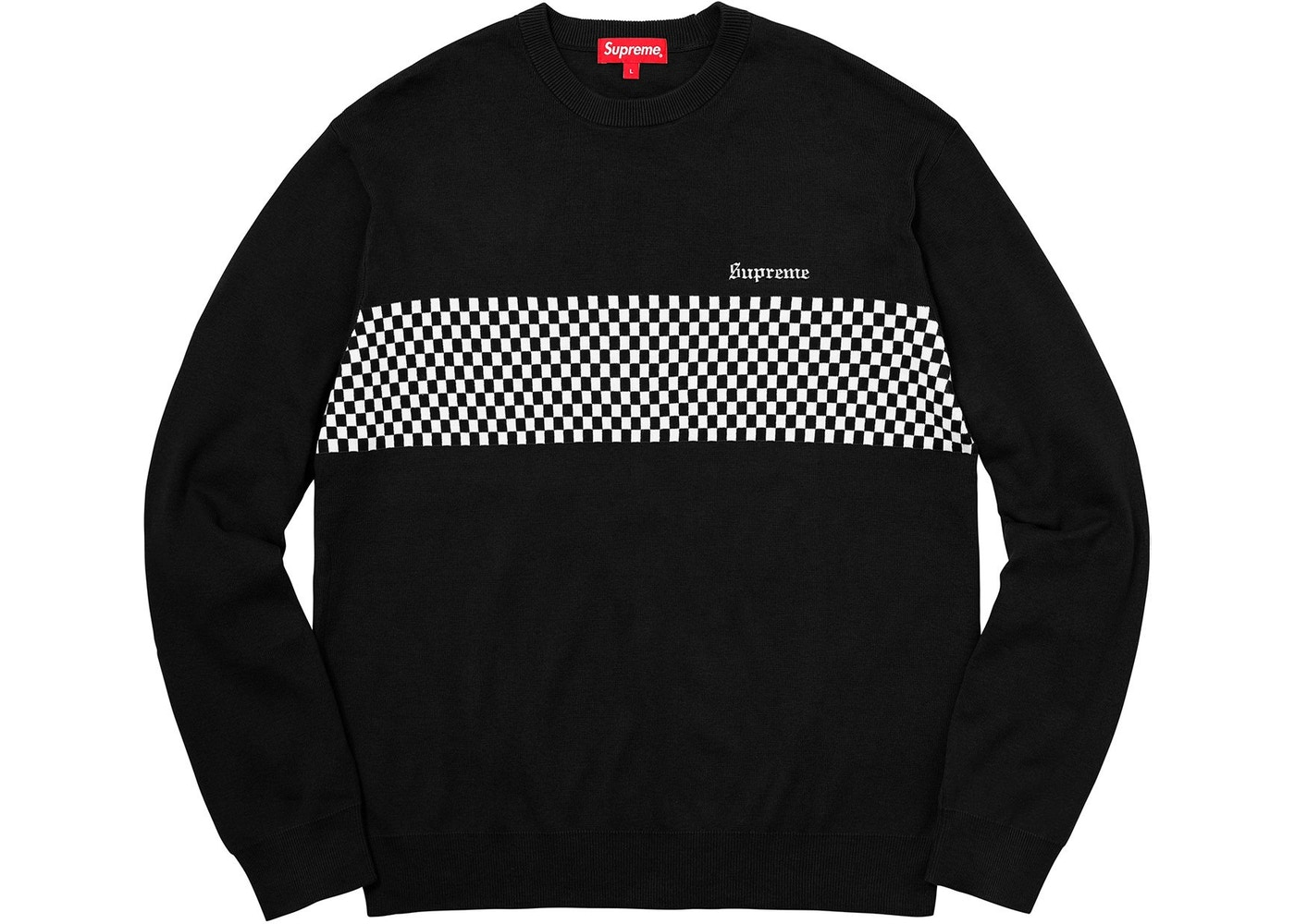 484a1647fb52 Supreme Checkered Panel Crewneck Sweater Black - SS18