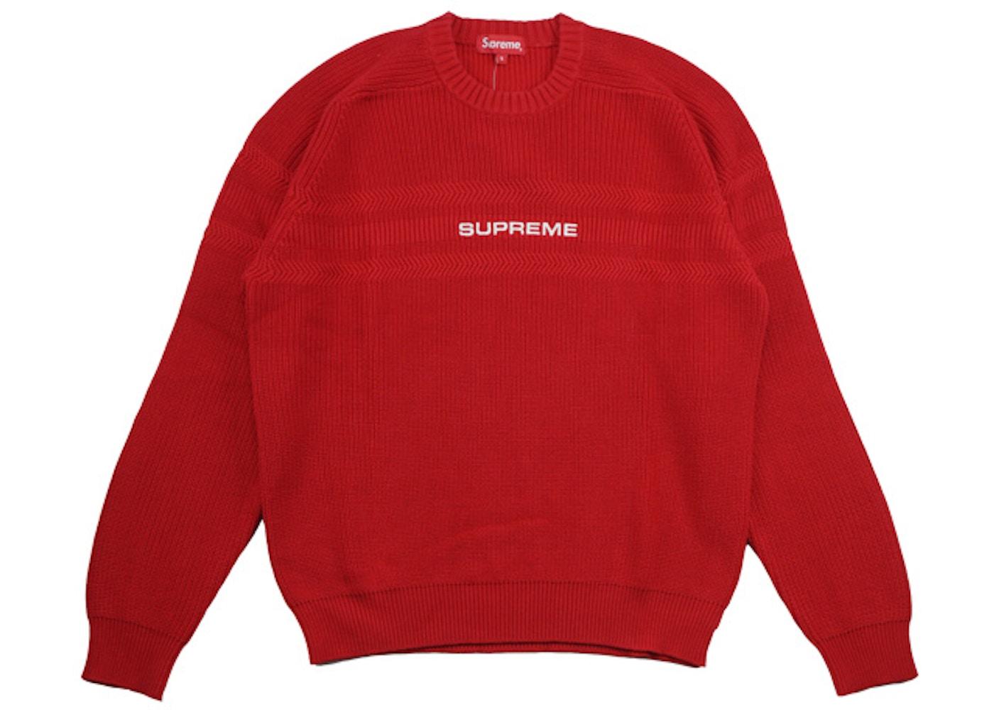 108e5ee26146 Supreme Chest Stripe Raglan Sweater Red - SS18