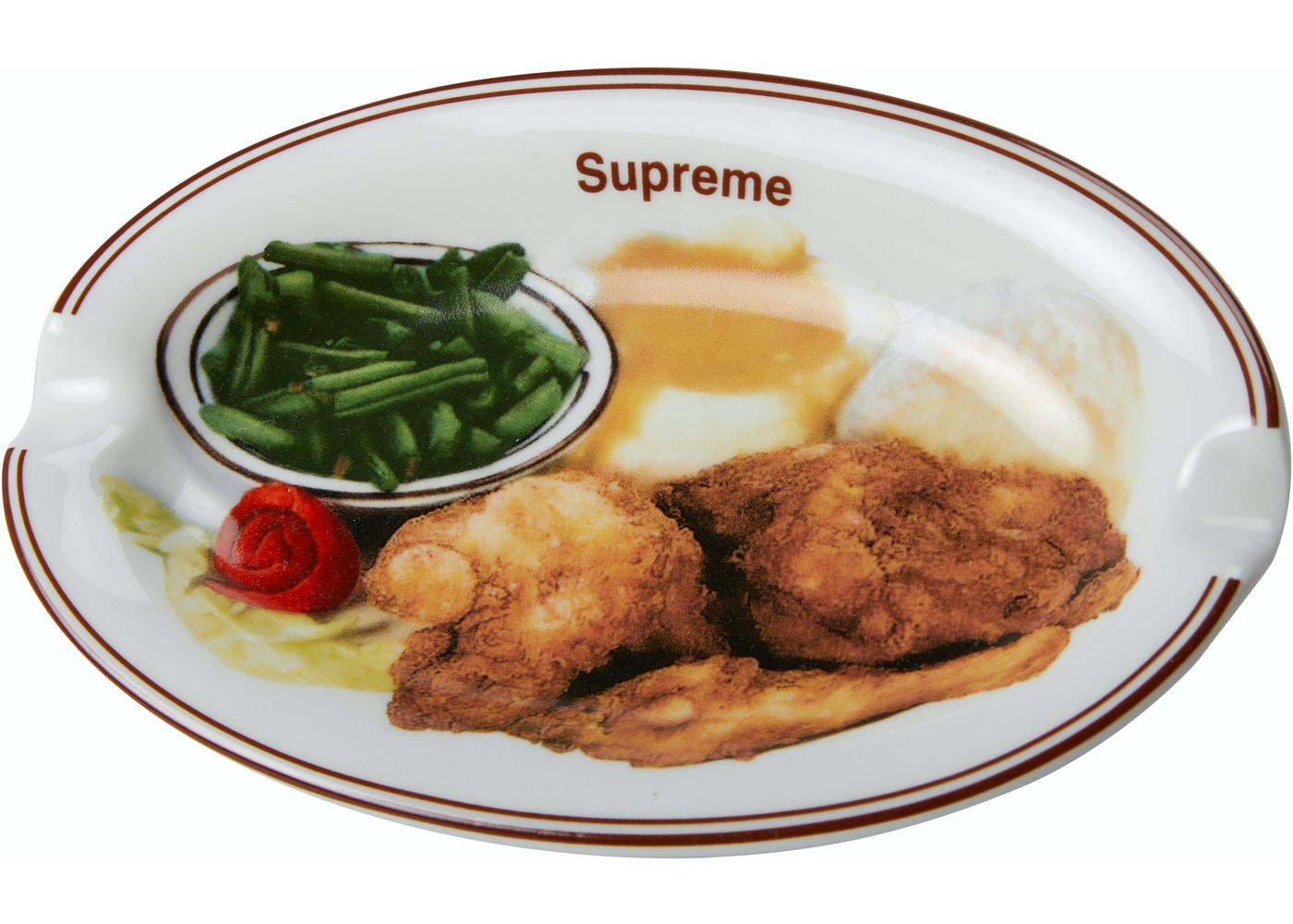 Supreme Chicken Dinner Plate Ashtray White - SS18