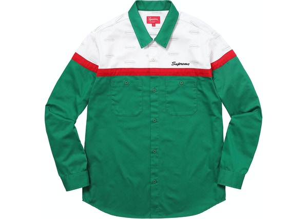 710f090cff49 Supreme Color Blocked Work Shirt Green - FW17