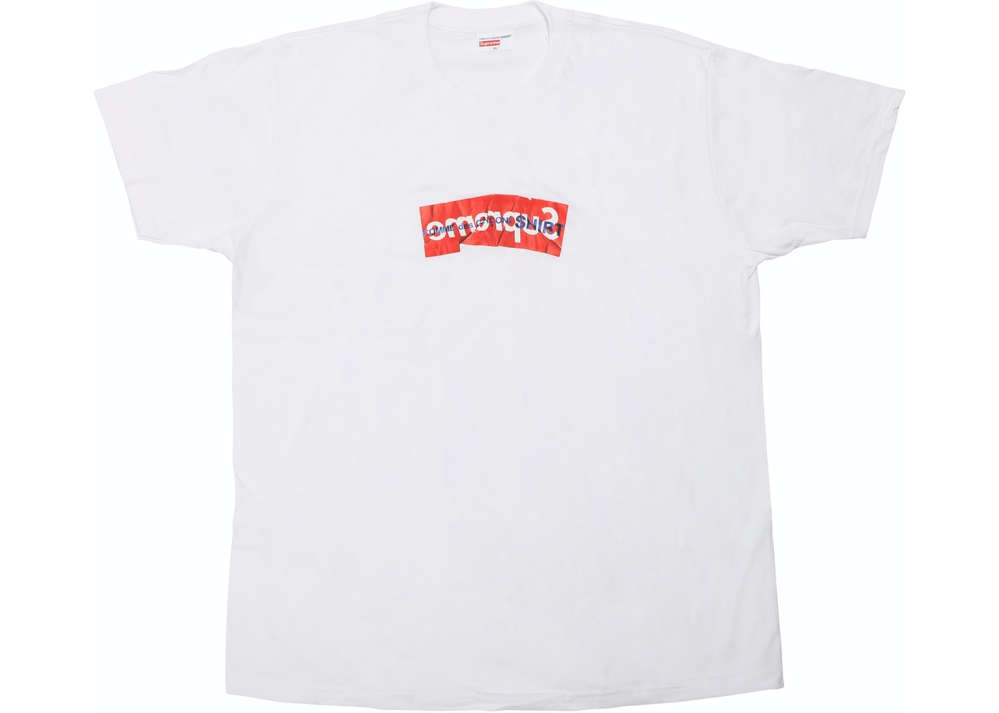 supreme comme des garcons shirt box logo tee white ss17. Black Bedroom Furniture Sets. Home Design Ideas