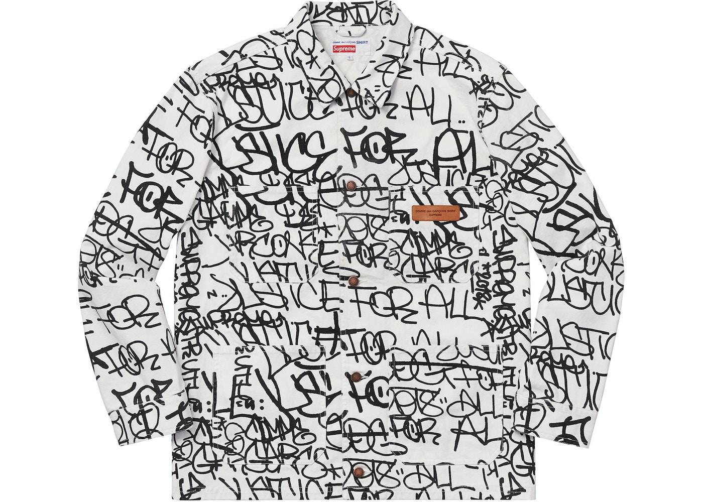 Supreme Comme Des Garcons Shirt Printed Canvas Chore Coat White Fw18