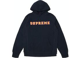 eed45ef41578 Supreme Cord Collegiate Logo Hooded Sweatshirt Navy - SS18