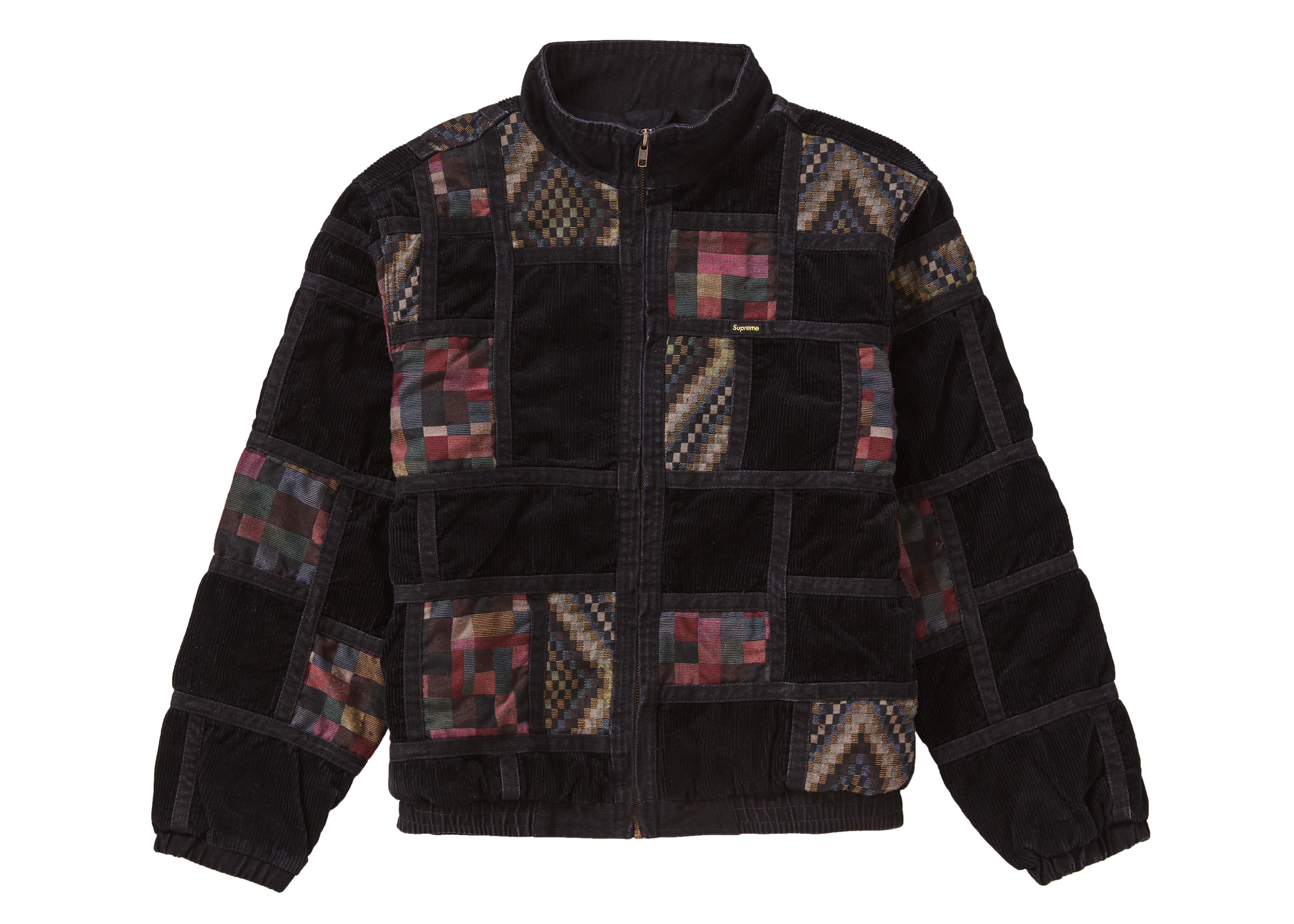 Supreme Corduroy Patchwork Denim Jacket Washed Black