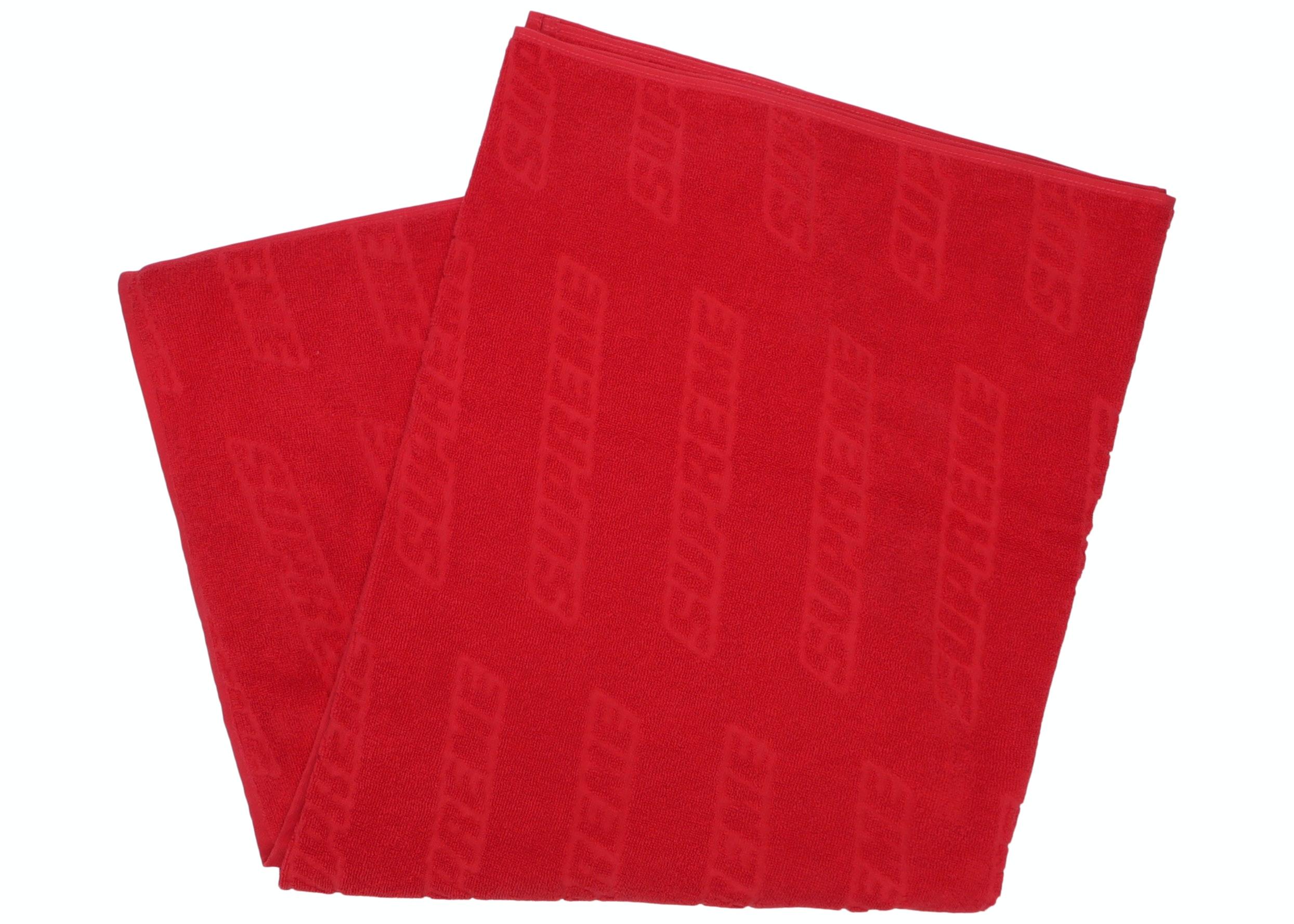 Supreme Debossed Logo Beach Towel Red