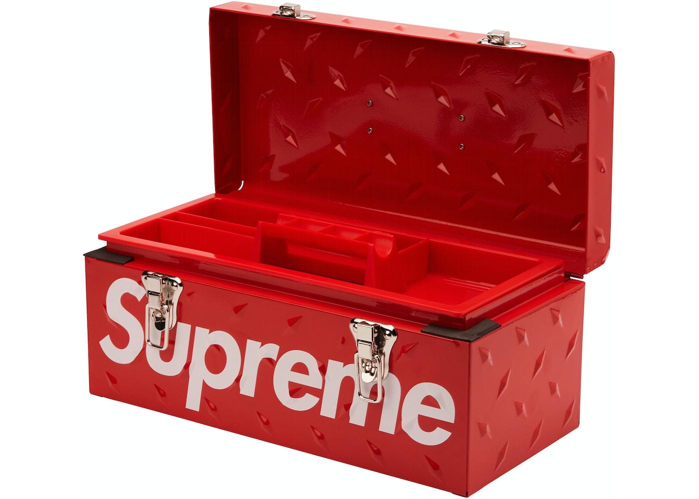 Supreme Diamond Plate Tool Box Red