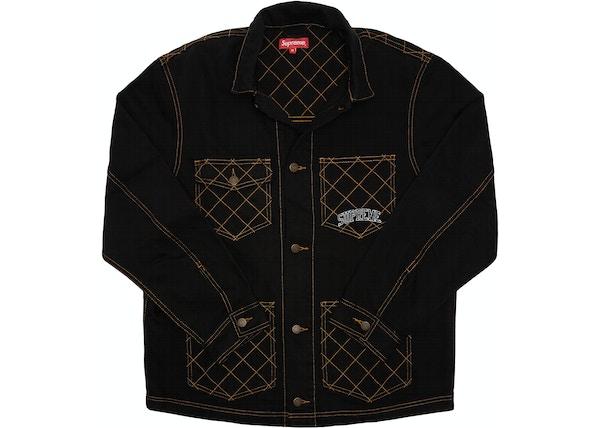 2328df8c42b1 Supreme Diamond Stitch Denim Chore Coat Black