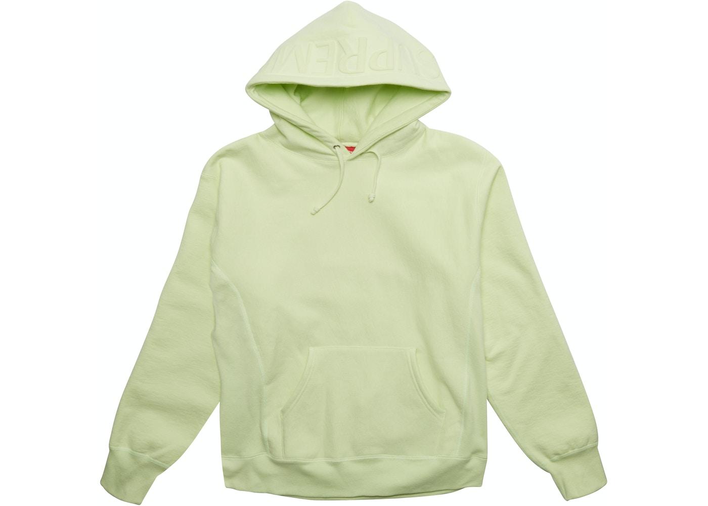 bb967fcb082f Supreme Embossed Logo Hooded Sweatshirt Pale Lime - FW17