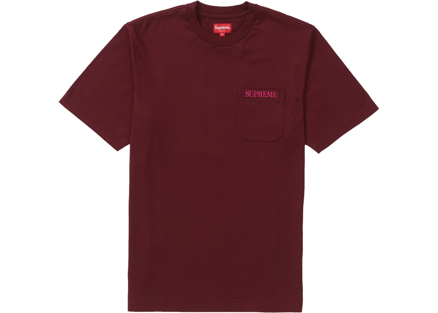 765620ce Sell. or Ask. Size --. View All Bids. Supreme Embroidered Pocket Tee  Burgundy