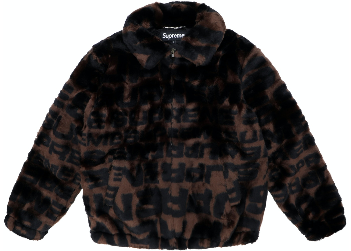 brand new 7a9be cc0ba ... Supreme Faux Fur Repeater Bomber Brown ...