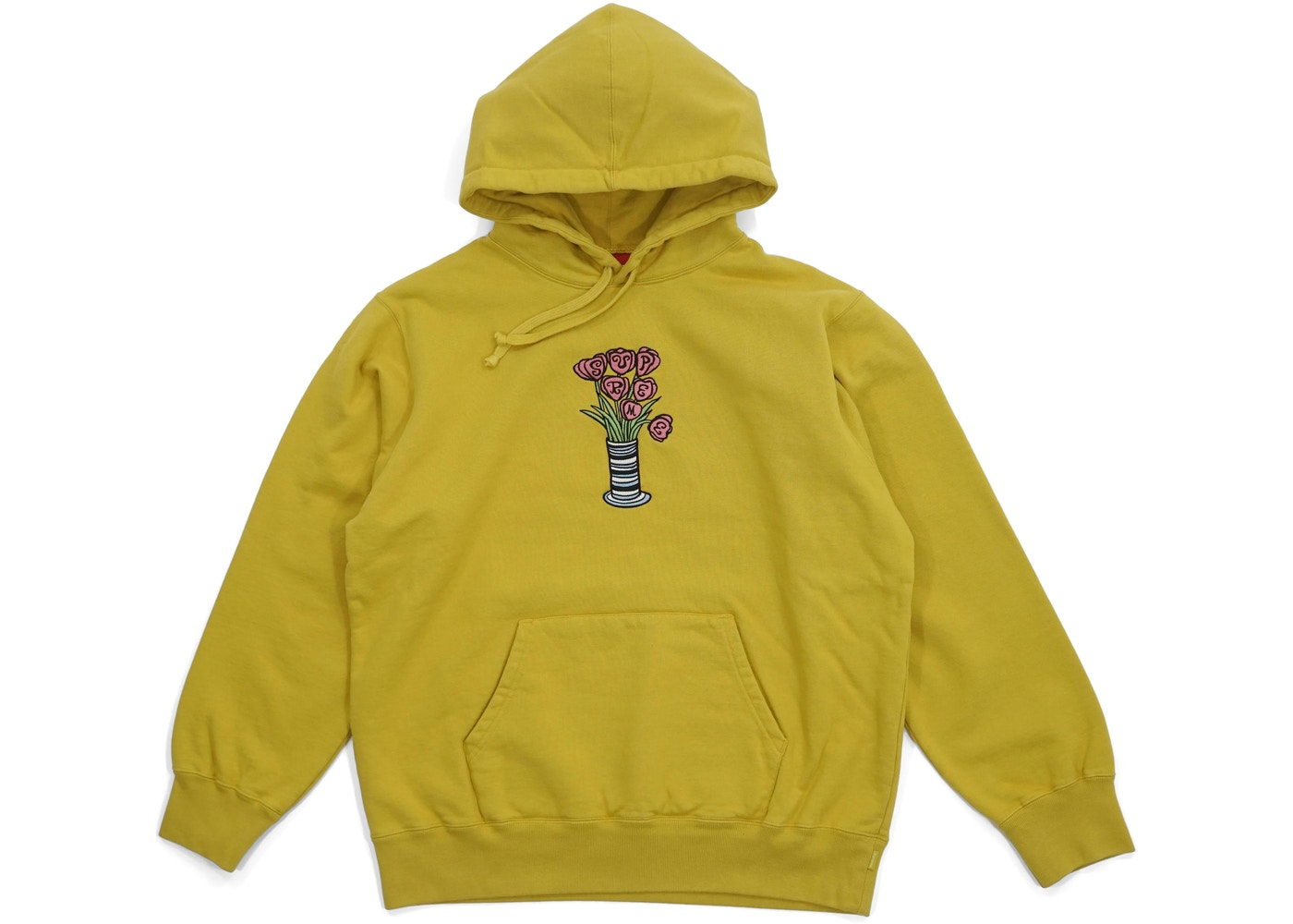 Supreme Flowers Hooded Sweatshirt Mustard