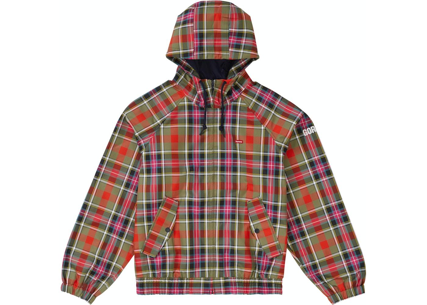 7bd05c2fd019 Supreme GORE-TEX Hooded Harrington Jacket Olive Plaid - SS19