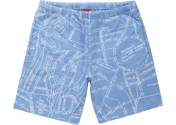 a59cbfb29d10 Supreme Gonz Embroidered Map Sweatshort Columbia Blue