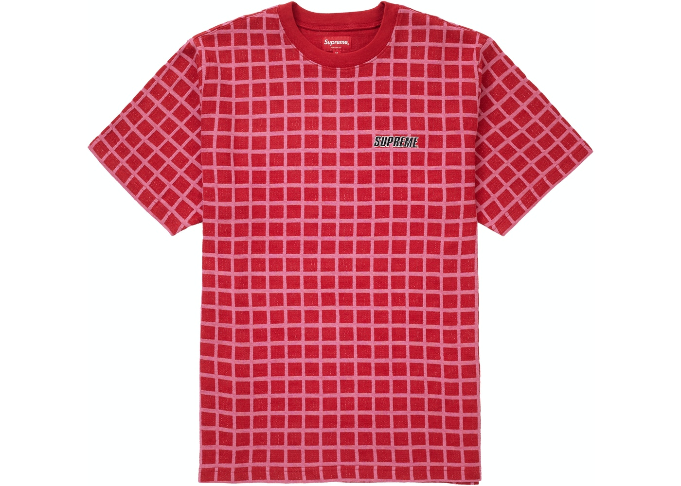 f39d3038 Supreme Grid Jacquard S/S Top Red - SS19