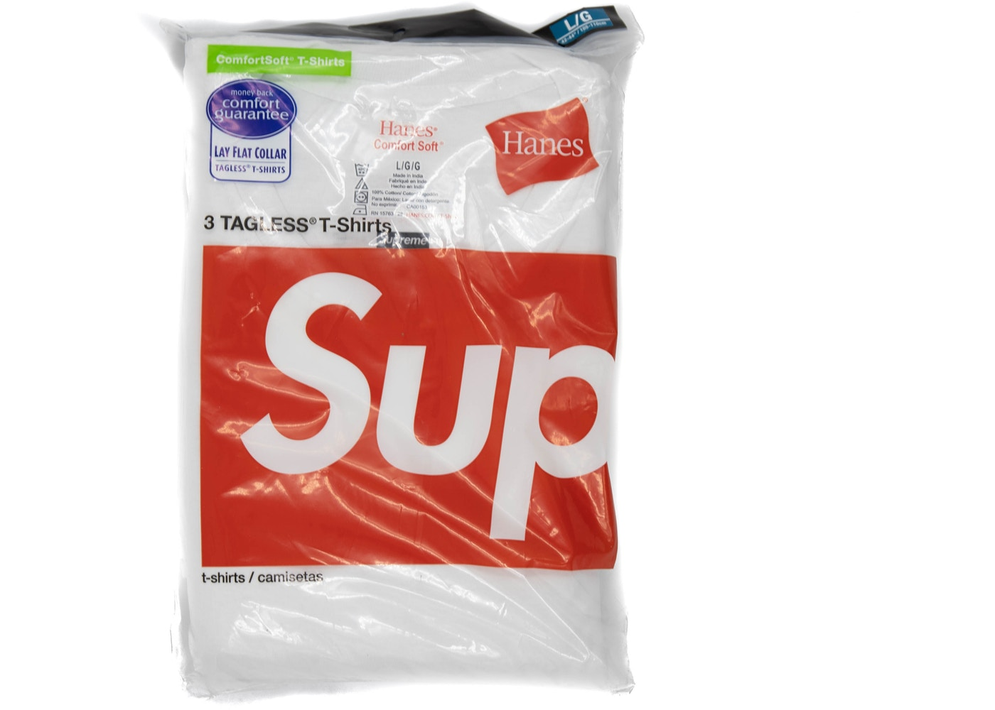 Supreme Hanes Tagless Tees 3 Pack White