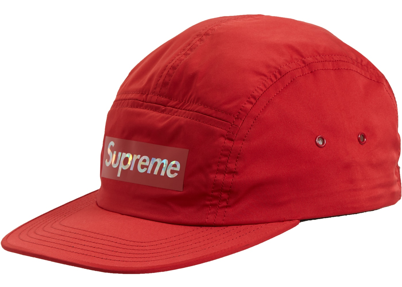 02503c6c Supreme Holographic Logo Camp Cap Red - SS19