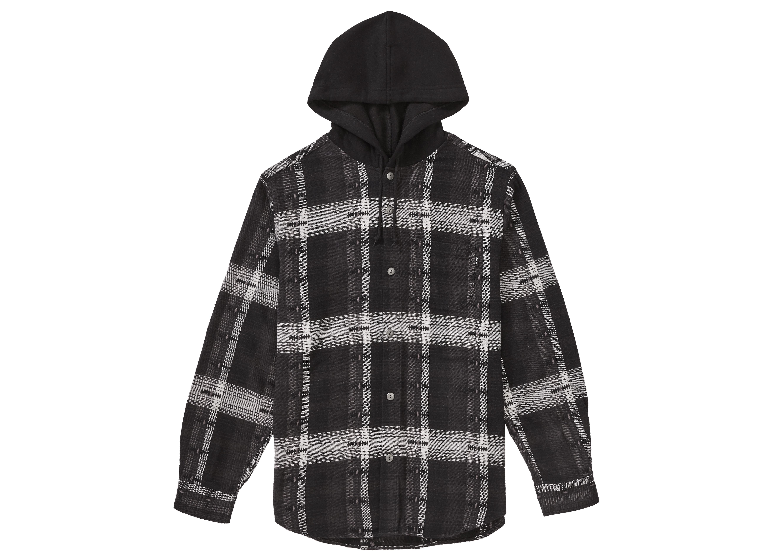Supreme Hooded Jacquard Flannel Shirt Black