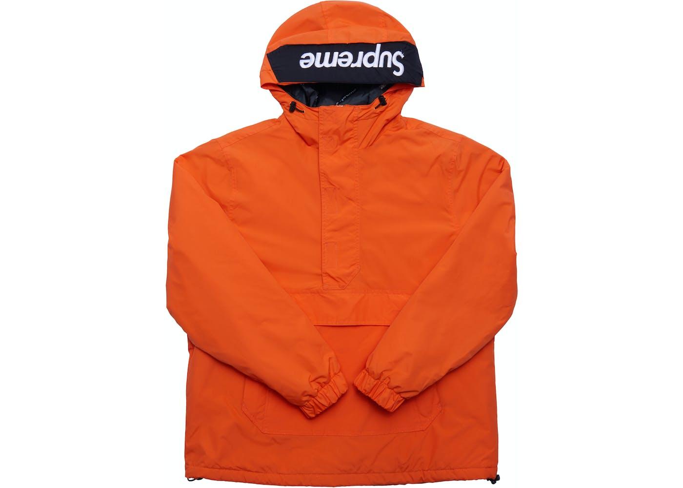 Hooded Logo Half Zip Pullover Orange