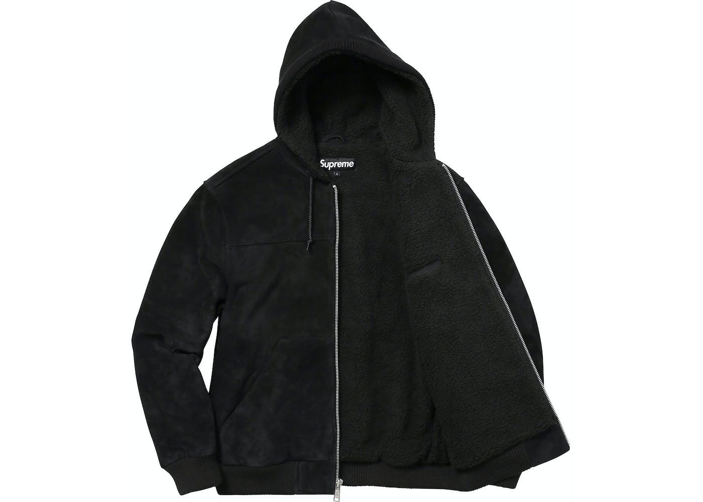 Supreme Hooded Suede Work Jacket Black