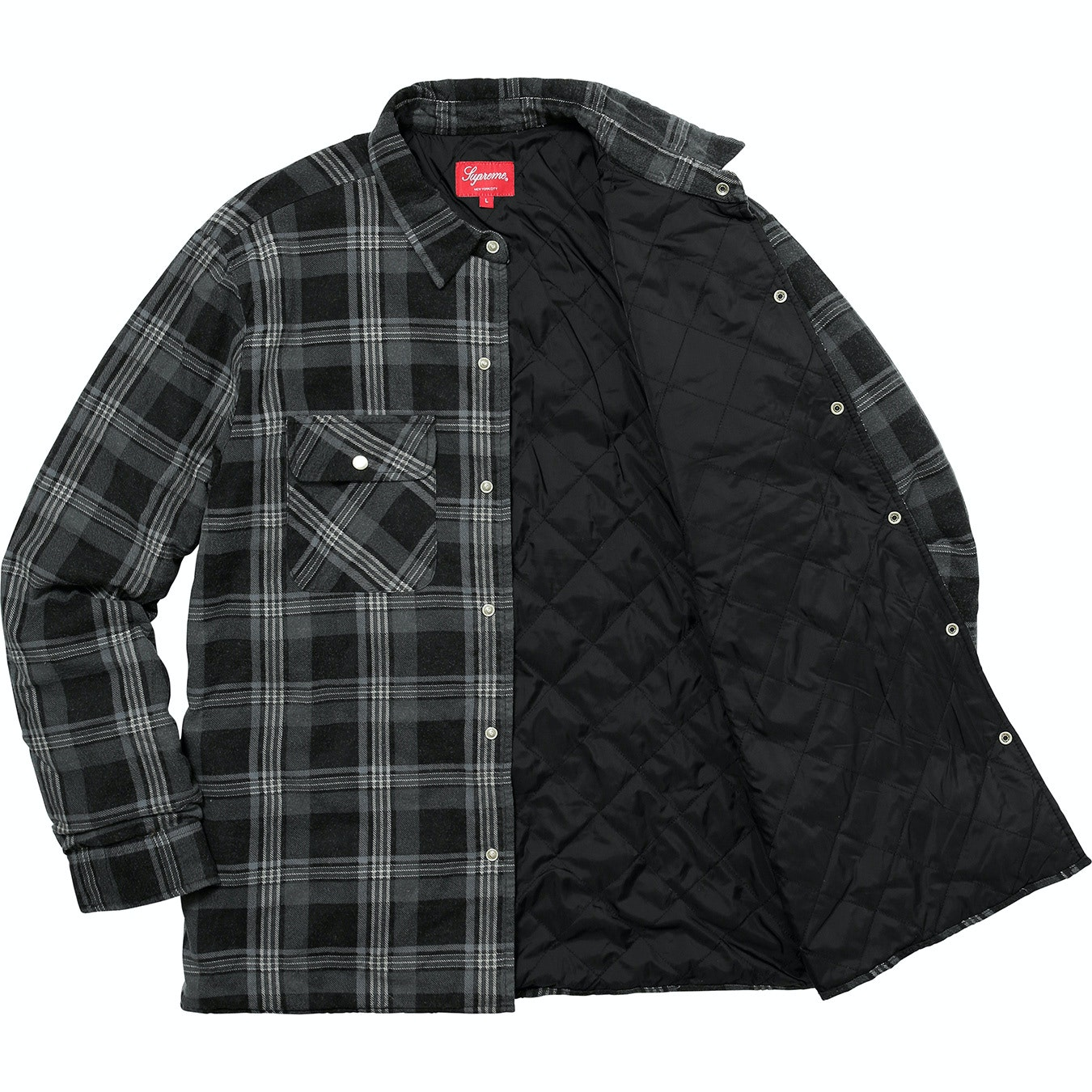 Supreme Independent Quilted Flannel Shirt Black