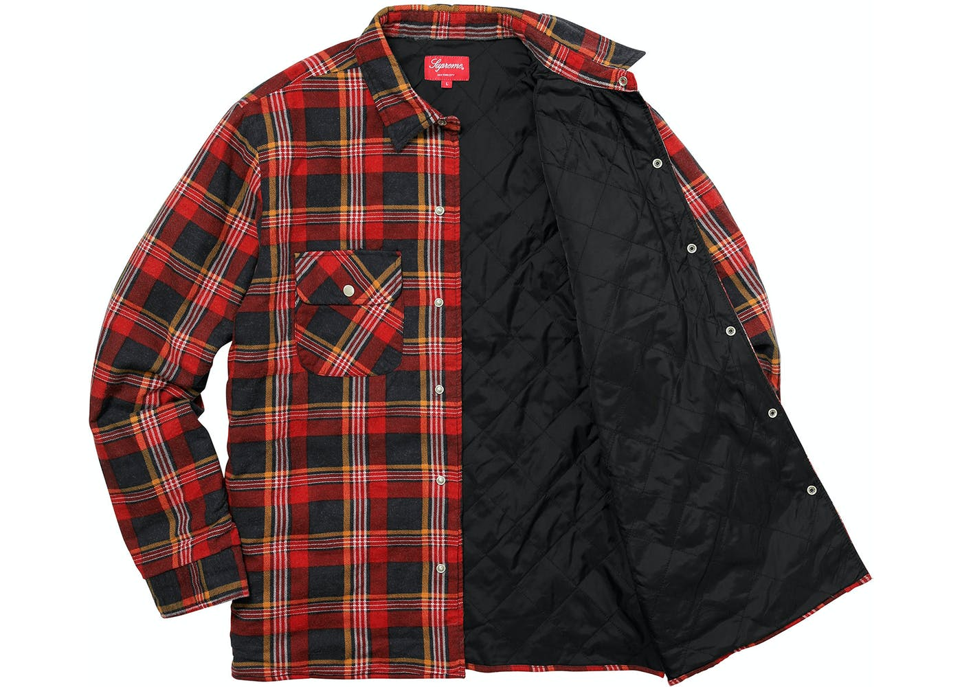 Supreme Independent Quilted Flannel Shirt Red : quilted flannel shirt jacket - Adamdwight.com