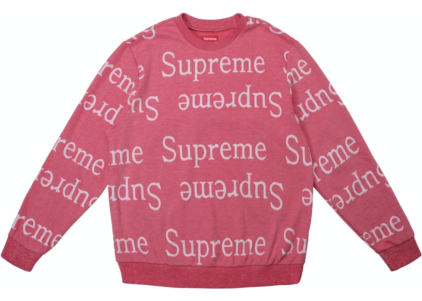 premium selection 56e7b 29fbc Supreme Jacquard Logo Crewneck Dark Pink - SS18